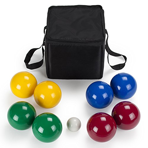 Bocce Deluxe Ball Set - 8 Lightweight Resin 90mm Balls & Carrying Case - Classic Indoor & Outdoor Lawn Games - Sports Equipment for Beach, Backyard, & Family Fun for Up to 4 Players