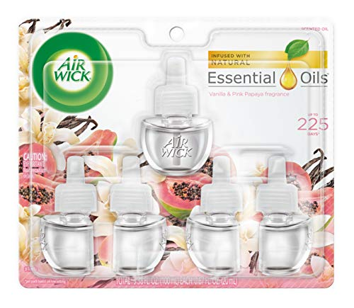 Air Wick plug in Scented Oil 5 Refills, Vanilla & Pink Papaya, (5x0.67oz), Essential Oils, Air Freshener, Packaging may vary,Vanilla & Pink Papaya