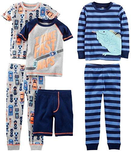 Simple Joys by Carter's Toddler Boys6-Piece Snug Fit Cotton Pajama Set, Racer Cars/Iguana, 4T