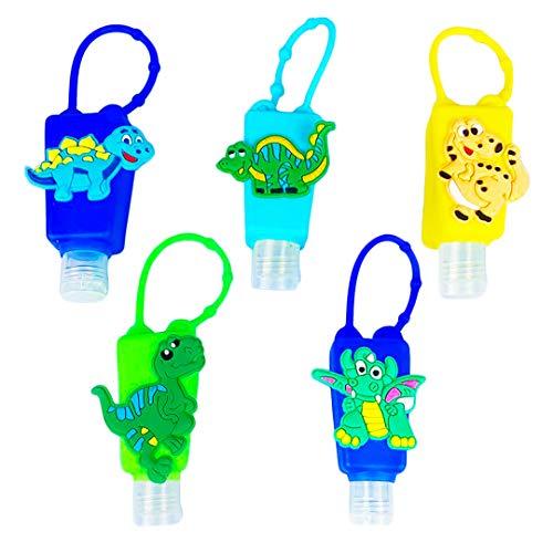 Hand Sanitizer Holder Keychain, Kids Hand Sanitizer Holder for Backpack, 1 oz, Clip on, Refillable, Empty, Hand Sanitizer Bottles, Bath and Body Works Pocketbac Hand Sanitizer Holder, Set -5 DINOSAURS