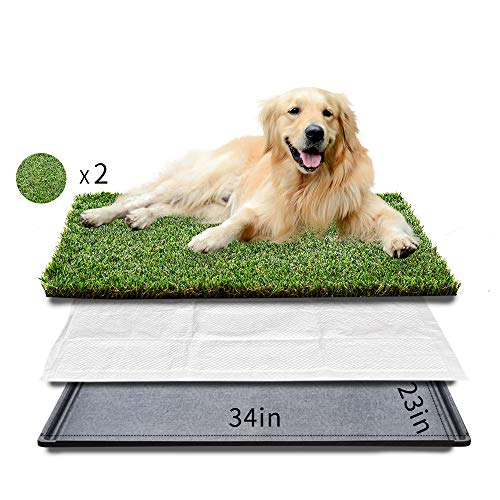 """HQ4us Dog grass Large Dog Litter Box Toilet (34""""×23""""), 2×Artificial Grass for Dogs, Tray ,Pee pad, Realistic, Bite Resistance Turf, Less Stink, Indoor Potty Training,HQ4us 4Legs"""