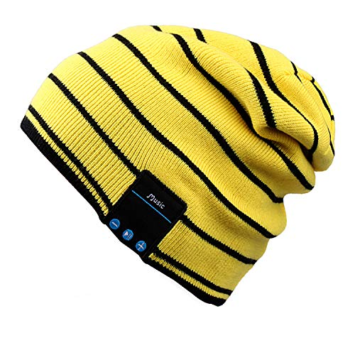 Mydeal Bluetooth Beanie Slouchy Knit Skully Beanie Cap Hat with Wireless Bluetooth Headphone Headset Earphone Music Audio Hands-free Phone Call for Winter Sports Fitness Gym Exercise Workout - Yellow