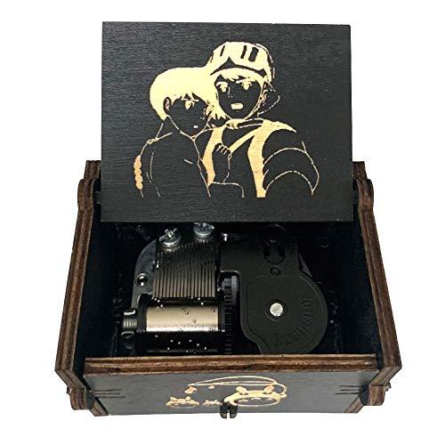 Pursuestar Black Wood Windup Clockwork Laser Engraved Vintage Wooden Music Box Wedding Valentine Christmas Birthday Musical Gift - Carrying You Castle in The Sky