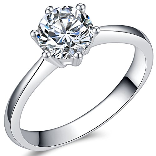 1.0 Carat Classical Stainless Steel Solitaire Engagement Ring (Silver, 4.5)