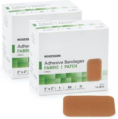 McKesson 16-4816 Medi-Pak Adhesive Strip, Performance Fabric, 2' x 3' (2 boxes of 50)