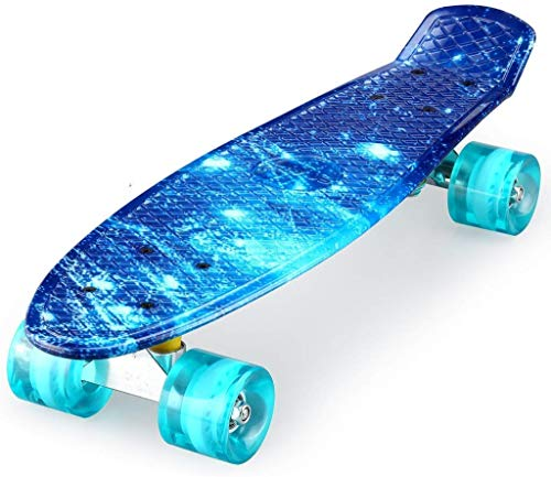 ENKEEO 22 Inch Cruiser Skateboard Plastic Banana Board with Bendable Deck and Smooth PU Casters for Kids Boys Youths Beginners, 220 Ibs. (Ocean)