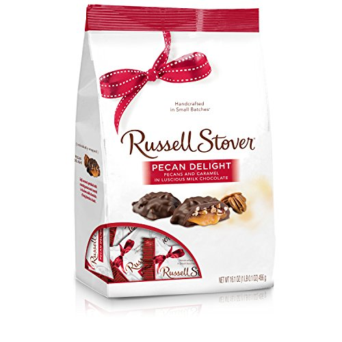 Russell Stover Pecan Delight Gusset Bag 16.10 Ounce Russel Stover Milk Chocolate Covered Candy Pack, Crunchy Pecans and Buttery Caramel Covered In Sweet Milk Chocolate Candy, Individually Wrapped