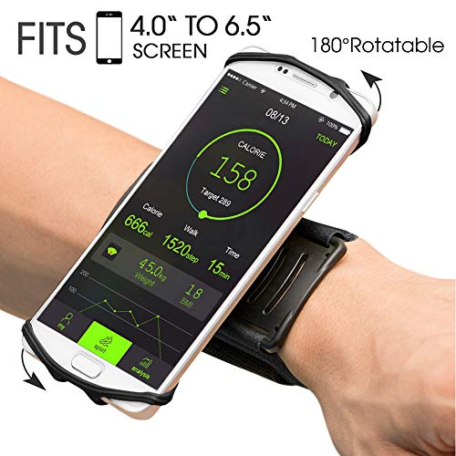 VUP Wristband Phone Holder, 360° Rotatable Forearm Armband for iPhone 11 Pro Max Xs XR X 8 7 Plus 6S 6 5S Samsung Galaxy S9 S8 Plus S7 Edge, Google Pixel, Great for Hiking Biking Running (Black)