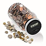 Digital Coin Bank, HeQiao Clear LCD Piggy Bank Simple Auto Counting Large Money Box Coins Savings Jar for US Coins (Silver)
