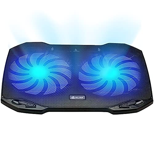 """KLIM Pro - The Laptop Cooling Pad for Professionals + Light, Compact, Easy to Carry, Durable + 10"""" to 15,6"""" + Extra USB Port + Laptop Cooler with Fans + New 2021 Version - Black"""