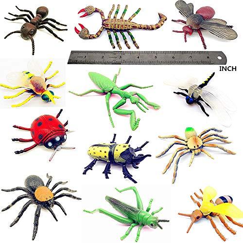 Guaishou Insect Toy Plastic Model Lifelike Assorted Figures Realistic Insects Toys 12 PCS Bee Beetle Mantis Spider Ladybug