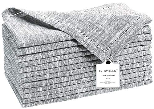 Cotton Clinic 12 Pack Farmhouse Style Slub Textured 18x18 Cloth Dinner Napkins, 100% Cotton for Everyday Use and Events - Soft and Durable Cocktail Napkins, Wedding Dinner Napkins, Gray