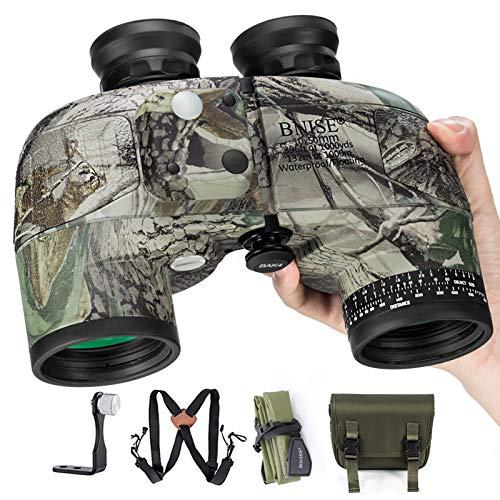 BNISE 10x50 Binoculars for Adults Marine Hunting Rangefinder with Harness Strap Compass, Professional Waterproof Long Distance bino BAK4 Porro Prism -Camo