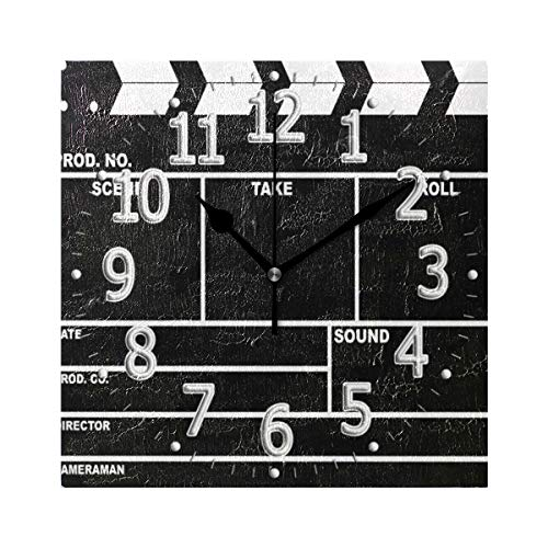 HousingMart Square Wall Clock Clapperboard Design Clock Battery Operated Silent Wall Clock Non Ticking for Living Room Bedroom Kitchen Office