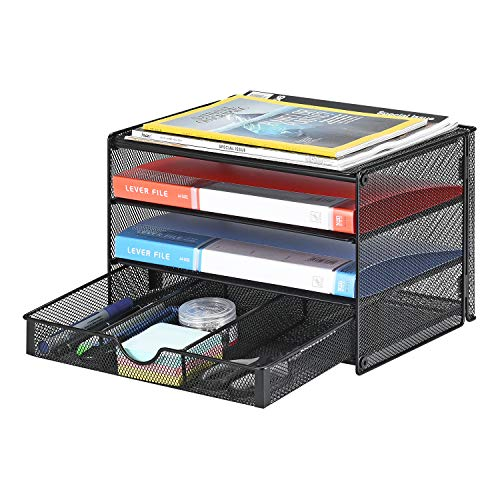 Samstar Paper Letter Tray, 3 Tier Desk Document File Organizer Paper Sorter Letter Shelf Rack with Extra Sliding Drawer, Mesh Made, Black