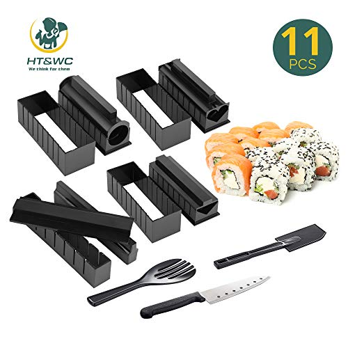 DIY SUSHI MAKING KIT for beginners tutorials step by step 11 pieces with 4 Sushi Rice Roll Mold Shapes EASY.FUN.HOMECOOKING SUSHI