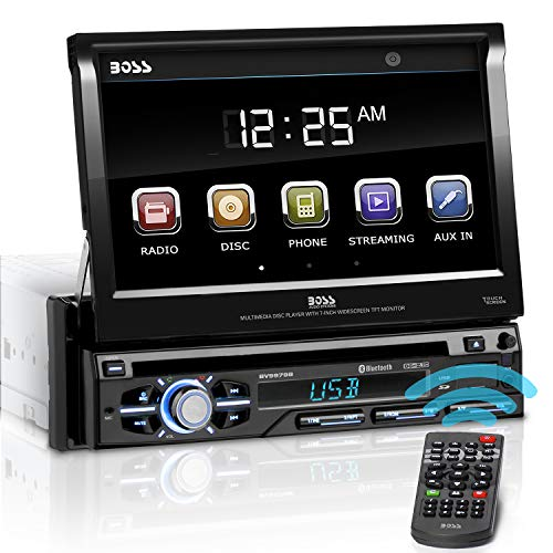 BOSS Audio Systems BV9979B Car DVD Player - Single Din, Bluetooth Audio & Hands-Free Calling, Multi-color Illumination, DVD, CD, MP3, USB, SD Aux-in, AM/FM Radio Receiver, 7 Inch LCD Touchscreen, Black