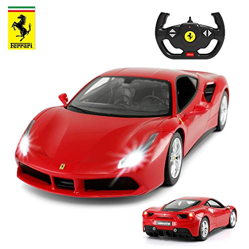 Ferrari 488 GTB Model, Rastar 1/14 Scale Ferrari Remote Control Car for Boys 8-12, Ferrari 488 Diecast - RED
