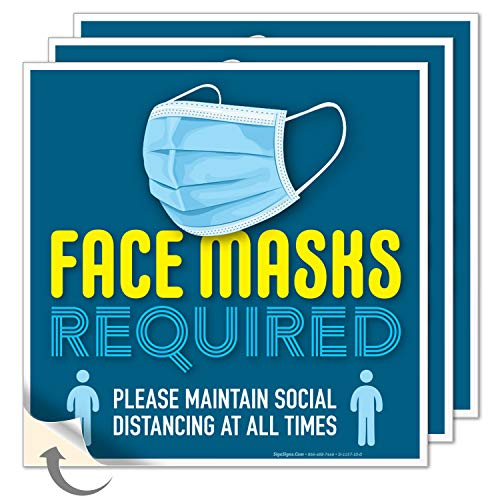 Face Mask Required Sign, (3 Pack) Social Distancing Signs, 9x9 Inches, 4 Mil Vinyl Decal Stickers Weather Resistant Long Lasting UV Protected, Made in USA by SIGO SIGNS