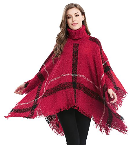 Women's Batwing Tassels Poncho Cape Plaid High Collar Sweater Poncho, Red