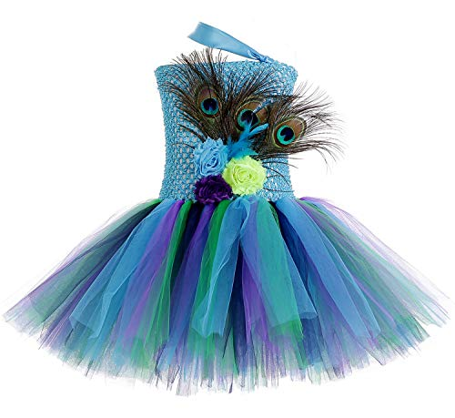 Tutu Dreams Easter Peacock Costume for Baby Girls 1st Birthday Fancy Princess Teal Aqua Tutus Dress (Peacock, Small)