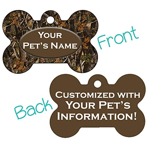 Double Sided Camo Print Pet Id Dog Tags Personalized with 4 Lines of Text (Realtree Outdoor)
