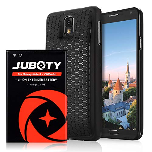 JUBOTY Samsung Galaxy Note 3 Battery/ 7200mAh Extended Li-ion Battery & Black Back Cover & TPU Case for Note 3 N9000 N9005 N900A N900V N900P N900T (24 Month Warranty)
