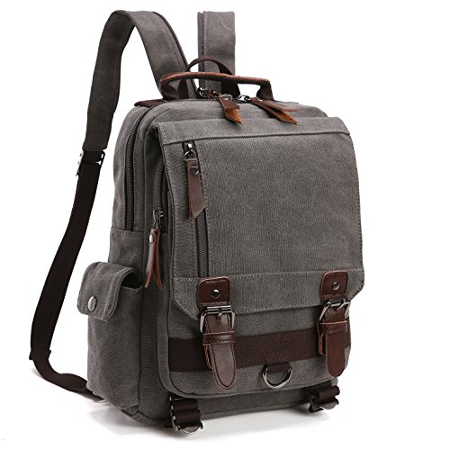 School Backpack, Lifestyle vintage Travel Rucksack for Men & Women, Lightweight College Back Pack with iPad Compartment Canvas Daypack Bookbag (MG-8596-1-GY)