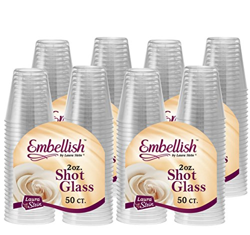 Embellish 200 Plastic Shot Glasses 2 oz, Crystal Clear Disposable Hard Mini Cups, Great for Whiskey, Jello Shots, Sample Tasting, Sauce, Dipping, Condiments, Perfect For Home, Bar, Parties,