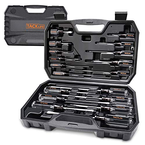 TACKLIFE Screwdriver Set,18pcs Magnetic Slotted/Phillips Screwdrivers and Acetate Hard Grip Handle Screwdriver with Case-HSS7A