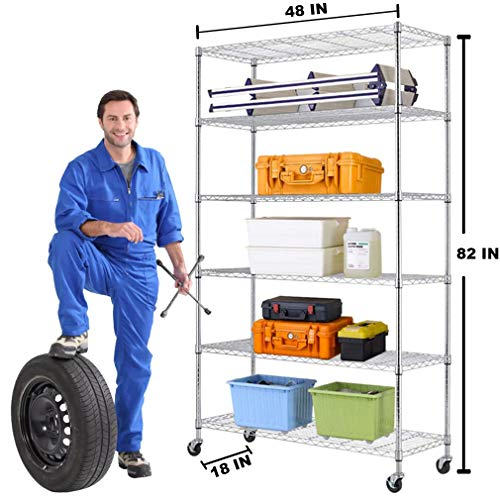 6 Tier Wire Shelving Unit Rack NSF Heavy Duty Height Adjustable Storage Shelf Metal Shelving with Wheels/Feet Levelers for Garage Rack Kitchen Rack Office Rack Commercial Shelving Chrome - 18'x48'x82'