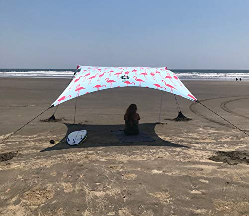 Neso Tents Gigante Beach Tent, 8ft Tall, 11 x 11ft, Biggest Portable Beach Shade, UPF 50+ SunProtection, Reinforced Corners and Cooler Pocket (Flamingos)