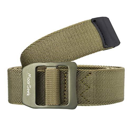 MoorSeek Nylon Stretch Belt Outdoor Military Web Belt 1.2' Men and Women Tactical Webbing Belt (Army Green, 46')