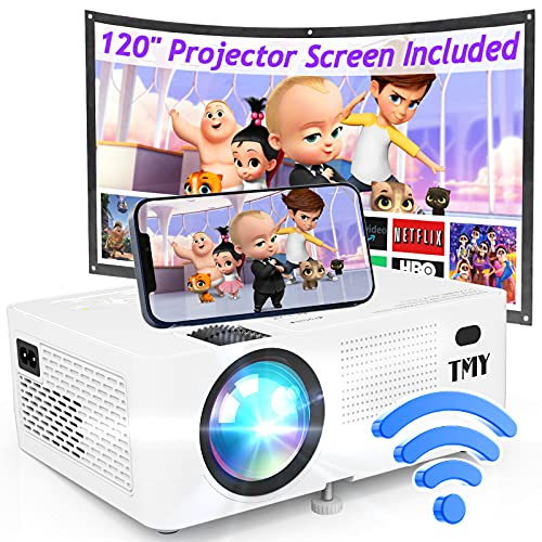 T M Y WiFi Projector with 120″ Screen, [200 ANSI - Over 7500 Lux Brightness], 1080P Full HD Enhanced Projector, Portable Projector Compatible with TV Stick HDMI USB for Home Cinema & Outdoor Movies.