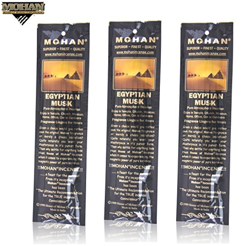 Mohan Incense Egyptian Musk Scents Pack 250 Sticks (9.2 Inches Tall) - Makers of the World Famous Khush Scent - Premium Pure Charcoal Incense Hand Rolled in the Finest Herbs, Spices, Oils, Honey, and Sandalwood Powder