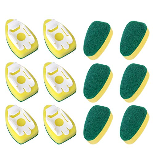 12 Pack Dish Wand Refills Sponge Heads Brush,CAMTOA Kitchen Cleaning Sponge Pads,Heavy Duty Dish Wand Brush Replacement Sponge Refills for Kitchen Room Cleaning Tools