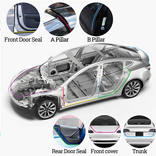 XTechnor Tesla Model 3 Door Seal Kit Soundproof Strip Weather Stripping Wind Noise Reduction Kit Weather Draft Seal Strip