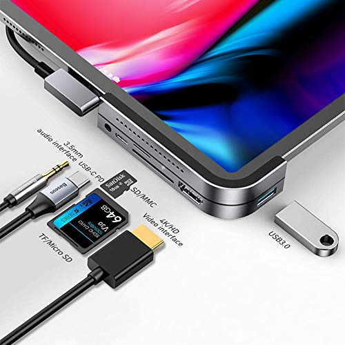iPad Pro USB C Hub, Baseus 6-in-1 Adapter for iPad Pro 2021 2020 2018 12.9/11 inch, Docking Station with 4K HDMI, USB-C PD Charging, SD/Micro Card Reader, USB 3.0 & 3.5mm Headphone Jack