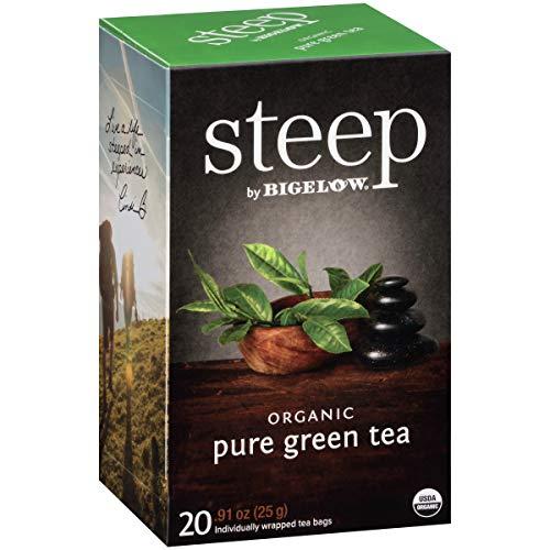 steep by Bigelow Organic Pure Green Tea, 20 Count (Pack of 6), 120 Tea Bags Total