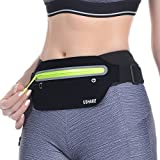 USHAKE Slim Running Belt, Ultra Light Bounce Free Waist Pouch Fitness Workout Belt Sport Waist Pack Exercise Waist Bag for Apple iPhone 8 X 7 6+ 5s Samsung in Running Gym Marathon Cycling(04BK)