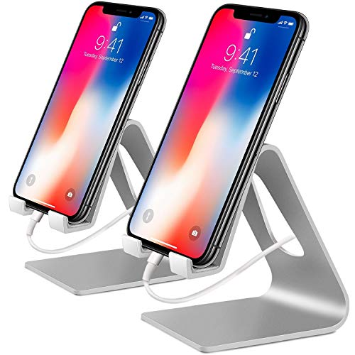 COOLOO Cell Phone Stand,【2 Pack】 Mobile Phone Anti-Skid Holder, Cradle, Dock Compatible Android Smartphone, Phone 11 Pro Xs Max Xr X 8 7 6 6s Plus 5s, Accessories Desk - Silver
