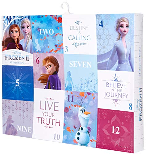Disney girls Frozen 12 Days of Advent Box Socks, Assorted Bright-frozen 2, Shoe Size 3-8 US