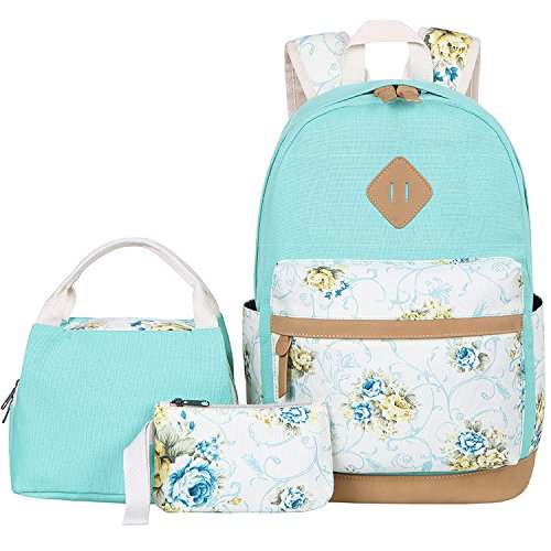 BLUBOON Canvas School Backpack Set 3 Pieces Lightweight Teen Girls Bookbags Insulated Lunch Bag Pencil Case (Water Green-flower)
