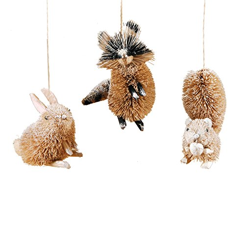 GALLERIE II Squirrel Rabbit Raccoon Christmas Xmas Ornament A/3 Natural