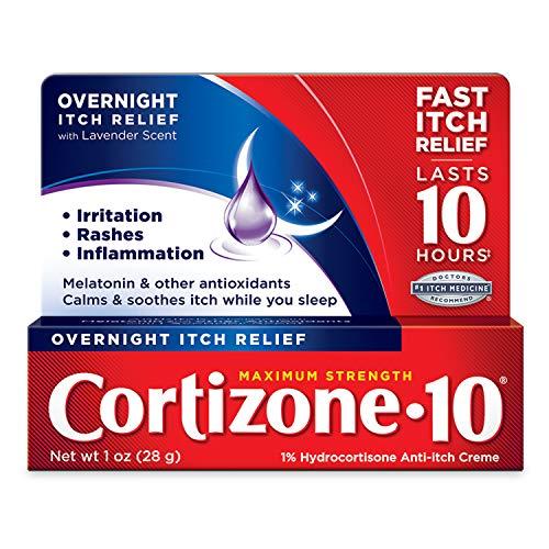 Cortizone 10 Maximum Strength Overnight Itch Relief 1 oz, Lavender Scent, 1 Percentage Hydrocortisone Anti-Itch Creme