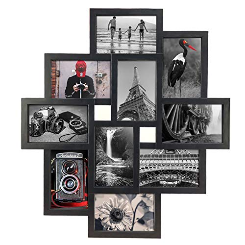 Lavezee 10 Opening 4x6 Black Collage Picture Frame Wall Hanging for 4 by 6 inch Multiple Photo Frames
