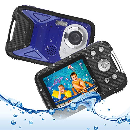 Underwater Digital Camera 16 FT HD 1080P Waterproof Camera 2.8' Screen 8X Digital Zoom 16MP Kids Video Cameras with 1050 mAh Rechargeable Battery,Point and Shoot Camera for Snorkeling,Swimming,Travel