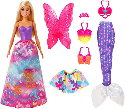 ​Barbie Dreamtopia Dress Up Doll Gift Set, 12.5-Inch, Blonde with Princess, Fairy and Mermaid Costumes, Gift for 3 to 7 Year Olds