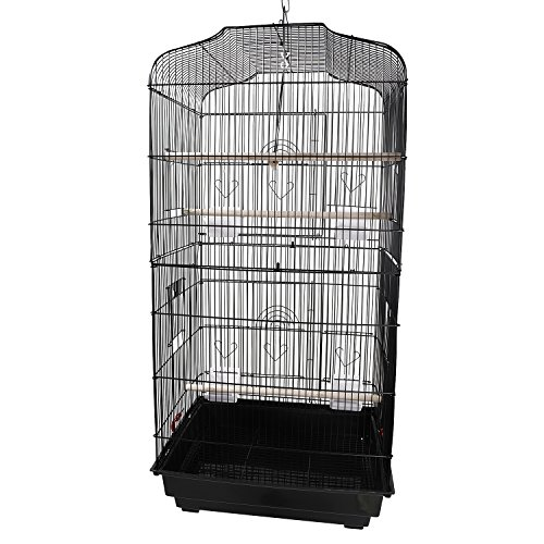 Genrics [US-W] 37' Bird Parrot Cage Canary Parakeet Cockatiel Lovebird Finch Bird Cage with Wood Perches & Food Cups Black