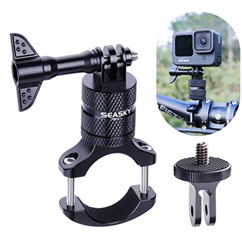 SEASKY Bike Handlebar Mount Clip Aluminum Alloy Bicycle Motorcycle Bracket Suitable for GoPro Hero 9/8/7/6/5 Black Sport Camera and DJI OSMO Action Insta360 ONE R Sports Cameras